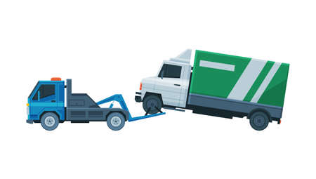 Truck Evacuating by Tow Truck, Roadside Assistance Service Flat Vector Illustration
