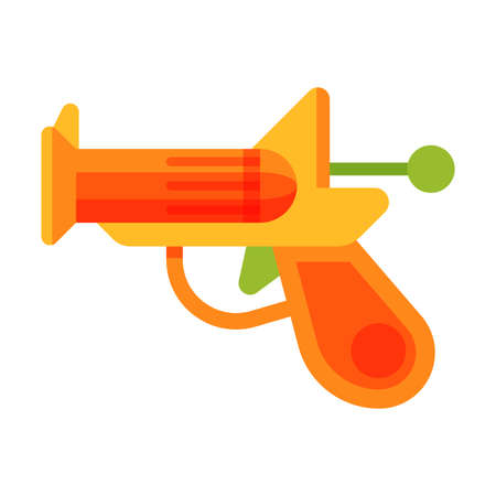 Plastic Gun Baby Toy, Cute Colorful Plaything for Toddler Kids Flat Vector Illustration