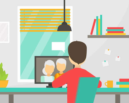 Grandparents Calling Son from Laptop, Remote Communication with Relatives. Person Sitting in front of Computer Talking to Elderly Parents by Video Call Vector Illustration