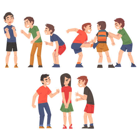 Conflicts Between Children Set, Violent Behavior Among Schoolkids, Mockery and Bullying at School Concept Cartoon Style Vector Illustration