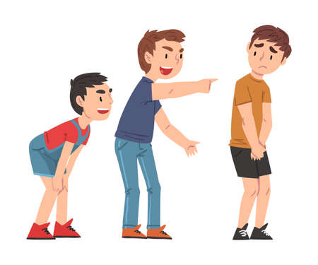 Sad Boy Bullied by Others, Two Boys Mocking, Laughing and Pointing Fingers at Him, Mockery and Bullying at School Problem Cartoon Style Vector Illustration