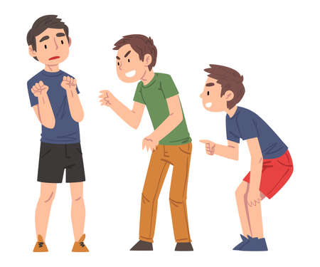Sad Boy Bullied by Classmates, Two Boys Mocking, Laughing and Pointing Fingers Him, Mockery and Bullying at School Problem Cartoon Style Vector Illustration