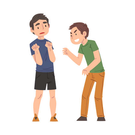 Sad Boy Bullied by Another, Classmate Mocking, Laughing and Pointing Finger Him, Mockery and Bullying at School Problem Cartoon Style Vector Illustration