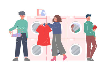 People Doing Laundry at Public Laundrette, Clients Washing and Drying Clothes Flat Style Vector Illustration