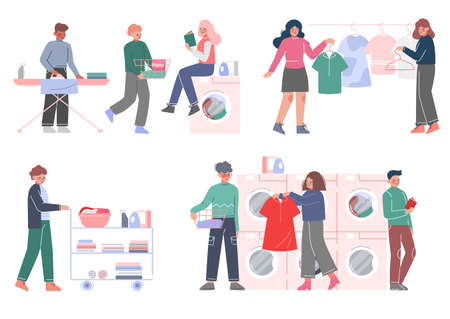 People Doing Laundry at Home or Public Laundrette Set, Men and Women Washing, Drying and Ironing their Clothes Flat Style Vector Illustration