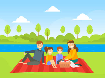 Happy Family Having Picnic Outdoors, Dad, Mom, Son and Daughter Resting on Nature Cartoon Vector Illustration