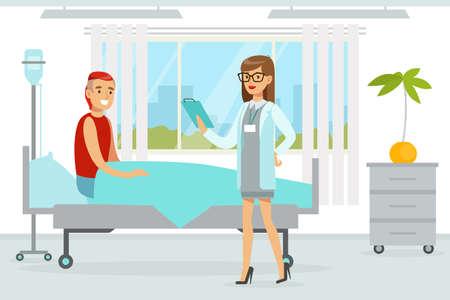 Doctor Examining and Treating Male Patient, Medicine, Healthcare Concept, Hospital Room Interior Cartoon Vector Illustration 일러스트
