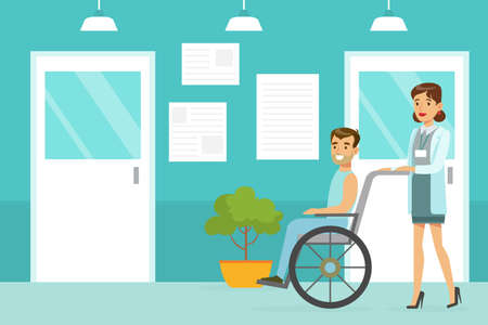 Doctor or Nurse Pushing Disabled Patient in Wheelchair in Medical Clinic, Medicine, Healthcare Concept Cartoon Vector Illustration