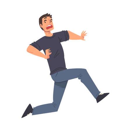 Scared Man Running Afraid of Something, Terrified, , Shocked Guy Character Cartoon Style Vector Illustration