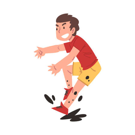 Boy Jumping in the Mud, Bad Child Behavior Cartoon Style Vector Illustration on White Background.