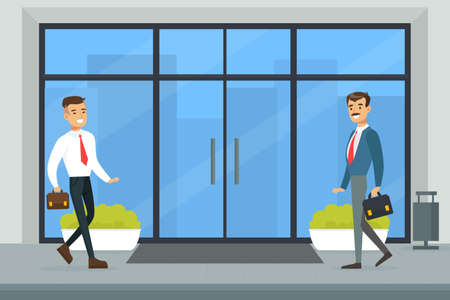 Business Office Center, Cheerful Businessmen Meeting in Office Entrance Flat Vector Illustration