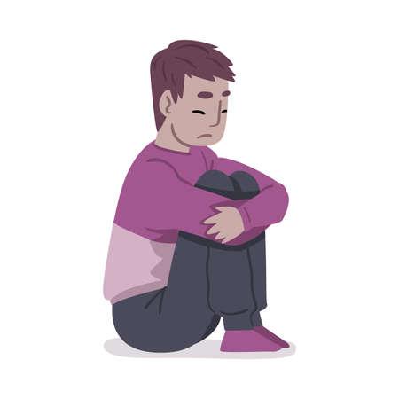 Depressed Guy Sitting on Floor Hugging His Knees, Mental Health Problems, Psychological Disorder Concept Cartoon Style Vector Illustration