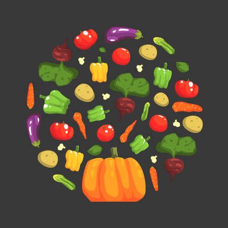 Fresh Ripe Vegetables of Round Shape, Healthy Organic Vegan Food Vector Illustration