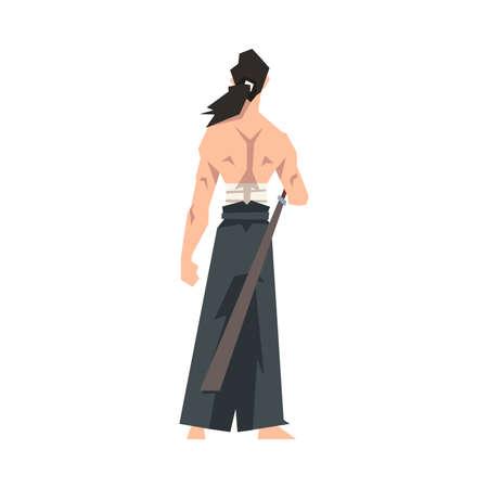Brave Japanese Warrior Man with Katana and Hakama Vector Illustration