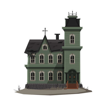 Scary Gothic House, Halloween Haunted Mansion with Cross on Top of Roof Vector Illustration