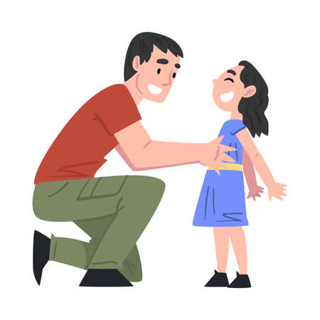Dad and his Daughter Having Fun, Father and his Kid Having Good Time Together Cartoon Style Vector Illustration