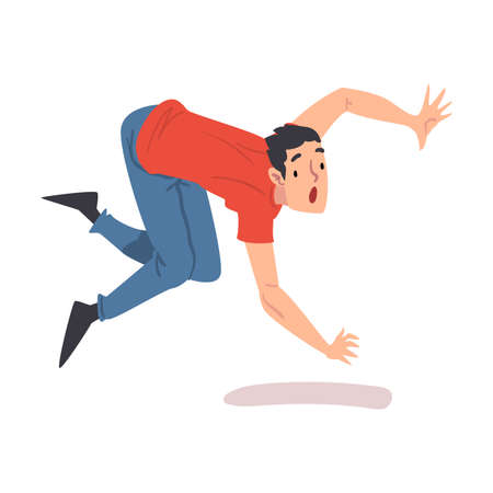 Shocked Man Falling Down Forward, Accident, Pain and Injury Cartoon Style Vector Illustration on White Background