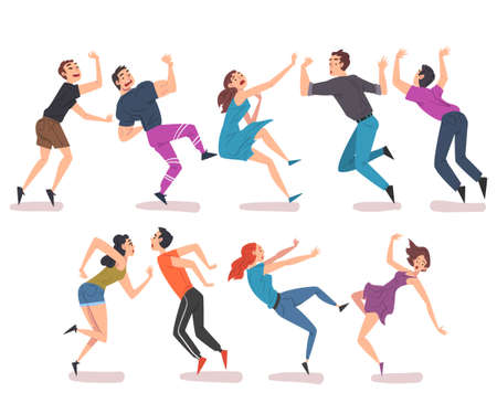 People Falling Down Set, Male and Female Person with Frightened Expression on their Faces, Accident, Pain and Injury Cartoon Style Vector Illustration Ilustración de vector