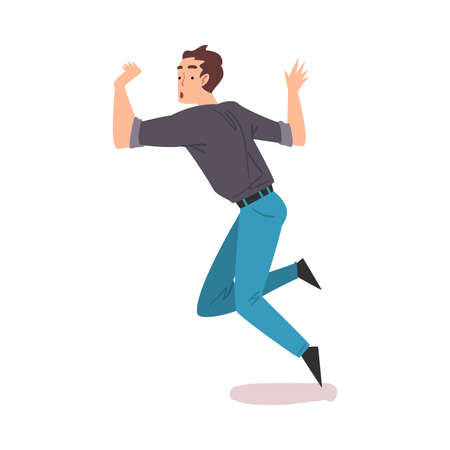 Man Stumbling and Falling Down, Man with Shocked Facial Expression Cartoon Style Vector Illustration on White Background
