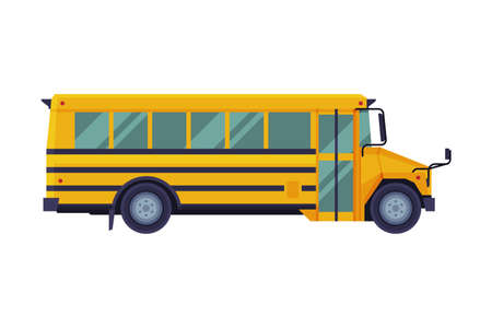 Yellow School Bus, Side View, Back to School Concept, Students Transportation Vehicle Flat Vector Illustration