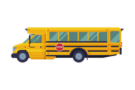 Yellow School Bus, Side View, School Students Transportation Vehicle Flat Style Vector Illustration