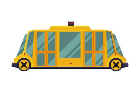 Modern Yellow School Bus, Side View, School Students Transportation Vehicle Flat Vector Illustration