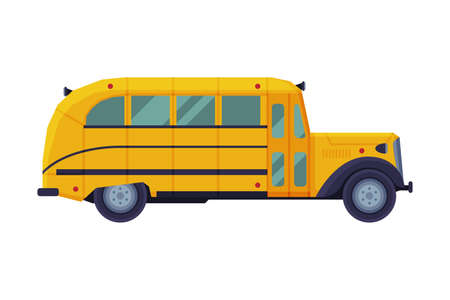 Vintage Yellow School Bus, Side View, School Students Transportation Vehicle Flat Style Vector Illustration