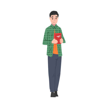 Guy Holding Carton Box, Guy Shopping Groceries at Mall or Supermarket Cartoon Style Vector Illustration on White Background