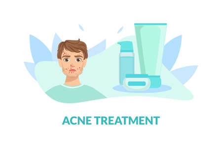 Acne Treatment Banner Template, Guy with Skin Problems Vector Illustration Stock Illustratie