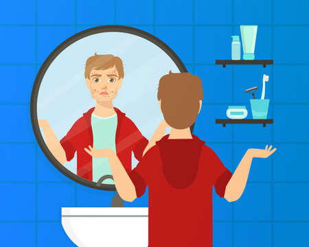 Guy with Skin Problems Looking at Himself into Mirror in Bathroom Vector Illustration Illustration