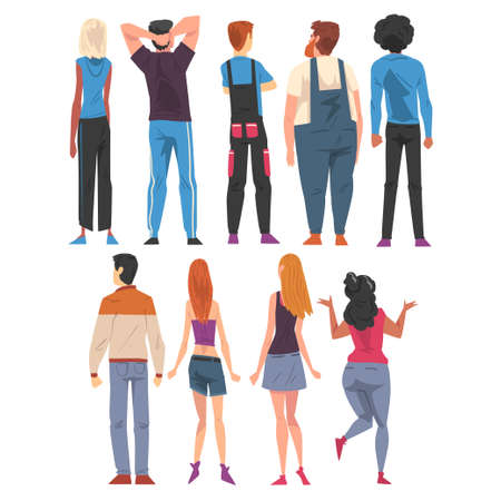 Back View of Young People Set, Guys and Girls Viewed from Behind Wearing Casual Clothes and Looking at Something Cartoon Style Vector Illustration