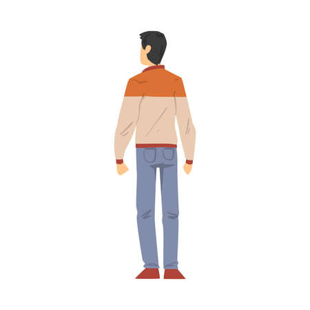 Back View of Guy, Young Man Viewed from Behind Wearing Casual Clothes and Looking at Something Cartoon Style Vector Illustration
