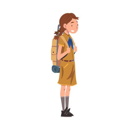 Scout Girl Standing with Backpack, Scouting Kid Character Wearing Uniform and Neckerchief, Summer Camp Activities Vector Illustration