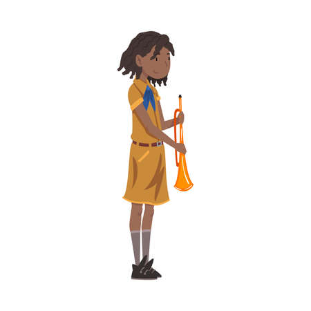 Scout Girl with Trumpet, Scouting Kid Character Wearing Uniform and Neckerchief, Summer Camp Activities Vector Illustration