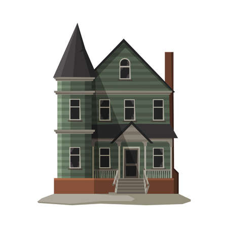 Scary Gothic House, Halloween Haunted Mansion Vector Illustration on White Background