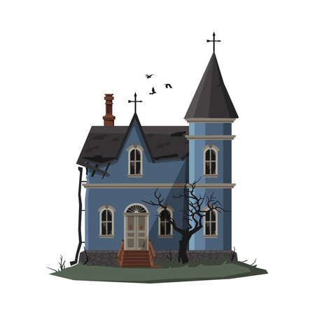 Scary Church Building, Halloween Haunted House with Crosses on Top of Roof Vector Illustration on White Background