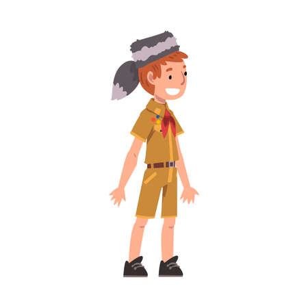 Cute Smiling Scout Boy, Scouting Kid Character Wearing Uniform, Neckerchief and Coonskin Cap, Summer Camp Activities Vector Illustration