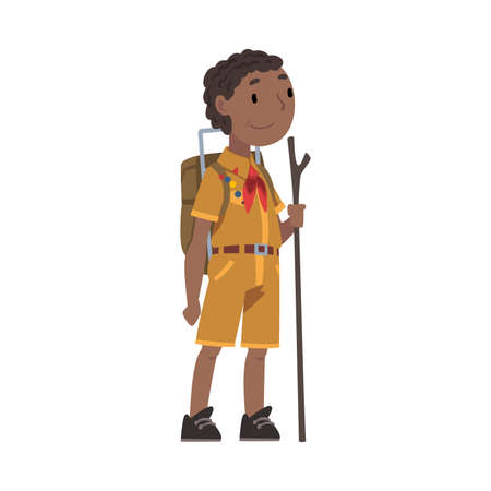 Scout Boy with Backpack and Wooden Stick, Scouting Kid Character Wearing Uniform and Neckerchief, Summer Camp Activities Vector Illustration