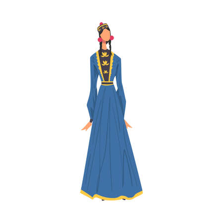 Woman in Kalmykia National clothing, Female Representative of Country in Traditional Outfit of Nation Cartoon Style Vector Illustration