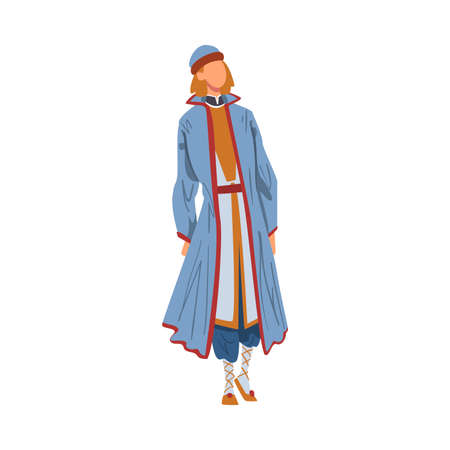 Man in Byelorussia National clothing, Male Representative of Country in Traditional Outfit of Nation Cartoon Style Vector Illustration