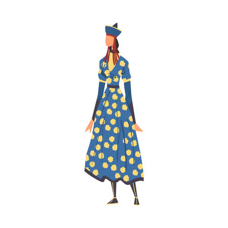 Woman in Buryatia National clothing, Female Representative of Country in Traditional Outfit of Nation Cartoon Style Vector Illustration