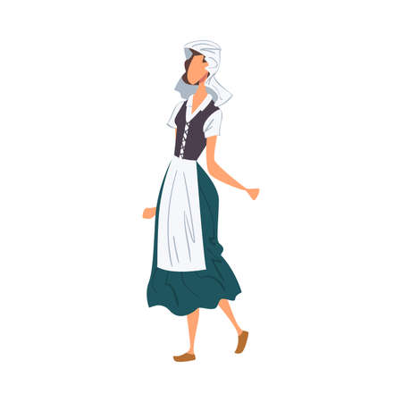 Woman in Holland National clothing, Female Representative of Country in Traditional Outfit of Nation Cartoon Style Vector Illustration