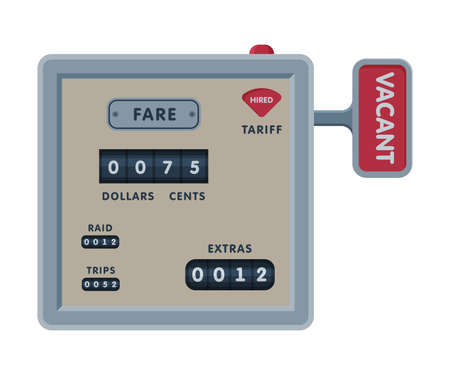 Taximeter Device Calculating Equipment, Taxi Car Measurement Appliance Vector Illustration on White Background