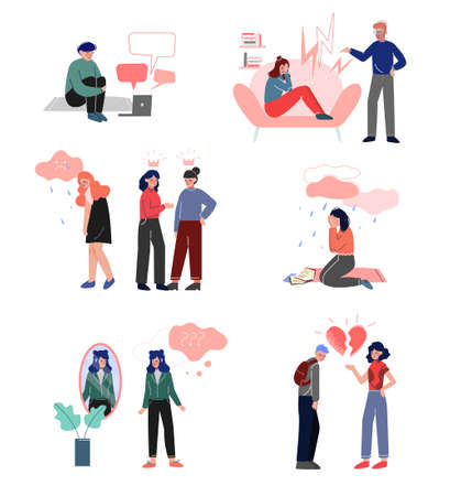 Depressed Teenagers Set, Cyber Bullying, Conflict with Parents, Depression, Unrequited Love, Teenage Puberty Problems Concept Vector Illustration