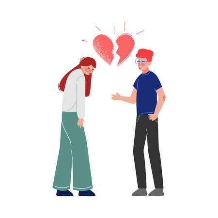 Unrequited, One Sided Love, Broken Heart, Teenage Puberty Problems Concept Vector Illustration