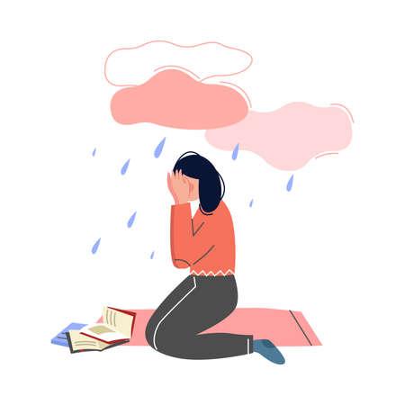 Depressed Teen Girl Sitting under Rain Cloud, Girl Having Learning Problems Vector Illustration