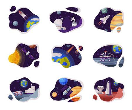 Space Scenes Set, Cosmos Industry Exploration Concept Themed Vector Illustration Backgrounds