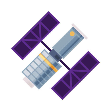 Artificial Space Satellite, Technologies for TV and Radio Broadcasting, World Global Net Flat Style Vector Illustration Vecteurs