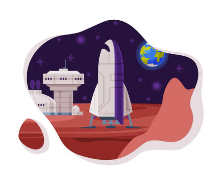 Colonization of Planet Scene, Science Station and Spaceship, Cosmos Industry Exploration Concept Themed Vector Illustration Background
