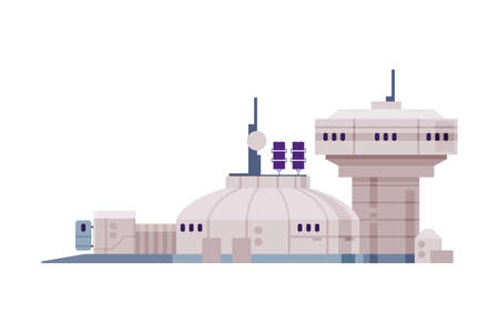 Observatory Building, Space Exploration Technologies Flat Style Vector Illustration on White Background